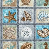Block Print Seashells by Seashore Fabric by the Yard