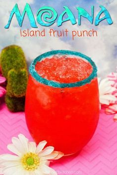 Bright, fruity, & festive! This Moana inspired Hawaiian Punch Recipe is the perfect drink for your next family movie night or kids birthday party!