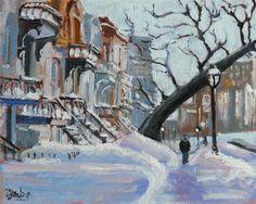 """593 Montreal Village Snow Scene, Rue Sherbrooke Est"" - Original Fine Art for Sale - © Darlene Young"