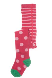 Super fun and cheerful these gorgeous knitted tights will brighten your day.  pink flowers and Raspberry Blossom Spot are stripy raspberry with pink spots.   Brand: Frugi  Material: 90% Organic Cotton, 8% Polymide, 2% Elastane  Washing Instructions: Machine washable at 40°C