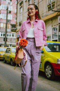 Pastels, pink denim jacket, purple trousers, white shoes, statement earrings, andreea birsan, couturezilla, cute spring outfit ideas 2018, pink and purple spring outfit ideas for 2018, pink cropped cotton jacket, pink trucker jacket, cropped pink denim jacket from na-kd, nakd jacket, mango white camisole top, cami tank top, basic white cami, how to wear a white cami top, how to wear pastels this spring, the pastels fashion trend, head to toe pastels, statement bag, multicolor bag, mini bag