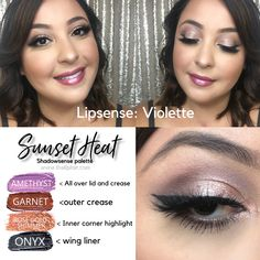 Purple eyeshadow with a touch of rose gold glitter. I'm calling this shadowsense look sunset heat because it's the perfect combo of warm and cool. Violette lipsense completes the look by giving you lips a beautiful pinky/purple. Purple Lips, Purple Eyeshadow, Eyeshadow Looks, Lipsense Pinks, Lipsense Lip Colors, Lip Makeup, Makeup Tips, Beauty Makeup, Shadow Sense