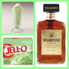 Pistachio Almond Pudding Shots  1 small Pkg. pistachio instant pudding ¾ Cup Milk 3/4 Cup Amaretto  8oz tub Cool Whip  Directions 1. Whisk together the milk, liquor, and instant pudding mix in a bowl until combined. 2. Add cool whip a little at a time with whisk. 3.Spoon the pudding mixture into shot glasses, disposable shot cups or 1 or 2 ounce cups with lids. Place in freezer for at least 2 hours