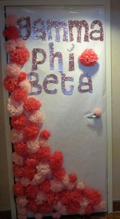 Big-little door decor... I would do this for my resident! minus the gamma phi beta
