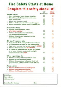 Home fire safety plan