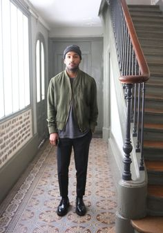 Green bomber grey beanie men tumblr