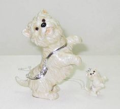 Adorable Westie West Highland Terrier Dog Jeweled Trinket Box w Matching Pendant on Necklace comes in a satin lined box perfect for gifting.  Free Shipping   #Dog  #TrinketBox  #Gift  #Christmas