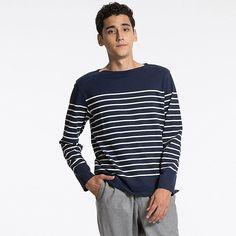 Shoptagr | Men Washed Striped Boat Neck Long Sleeve T Shirt by Uniqlo #style #fashion #trend #design #gift #onlineshop #shoptagr