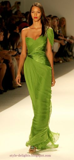 Chrome green never looked better! Carlos Miele Spring 2013 collection at NYFW