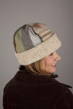 Cute seamed hat from felted sweaters.