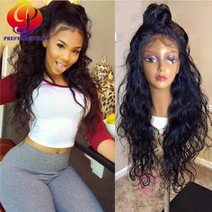 58.96$  Buy here - http://alidjf.worldwells.pw/go.php?t=32680989057 - Water And Wavy Full Lace Wigs Black Women's Lace Front Wigs With Baby Hair Peruvian Losse Wave U-Part Wigs For African American