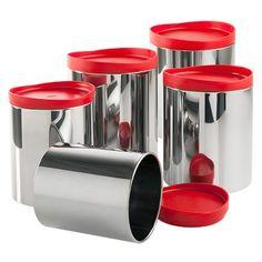 Conjunto de Potes para Mantimentos Brinox Suprema 5 Peças, Vermelho - Supermuffato