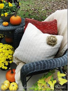 CONFESSIONS OF A PLATE ADDICT Getting Cozy...Sweater Pillows and a Burlap Rose Tutorial