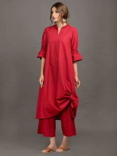 The Loom- An online Shop for Exclusive Handcrafted products comprising of Apparel, Sarees, Jewelry, Footwears & Home decor. Stylish Dresses, Nice Dresses, Fashion Dresses, New Years Dress, New Dress, Red Kurta, Khadi Kurta, Indian Dresses Traditional, Kurta Patterns