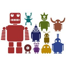 multicoloured robots and aliens wall decals! @Brandi Schlattweiler This is for you!!