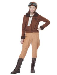 Check out Girls Amelia Earhart Costume - Historic/Patriotic Girls Costumes from Wholesale Halloween Costumes