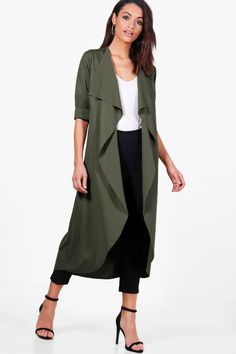 Womens Waterfall Duster - green - S/M Kimono Fashion, Modest Fashion, Fashion Dresses, Fashion Clothes, Coats For Women, Clothes For Women, Mode Hijab, Haute Couture Fashion, Fall Outfits
