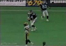 Football celebration fail. So the football bounced and hits his dick then the guy pushes him. He falls and another guy trips and sits on the poor guys face.