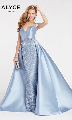 Alyce Paris - 60495 Plunging Off Shoulder Mikado Overskirt Gown Prom Dress Stores, Pageant Dresses, Pretty Woman Halloween, Grey Prom Dress, Beautiful Long Dresses, Couture Wedding Gowns, Wedding Dresses, Trumpet Skirt, Formal Gowns