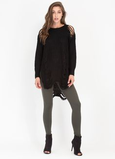 Shred-y To Go Chunky Distressed Sweater GoJane.com
