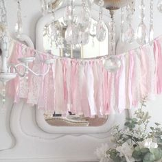 Pink Rag Garland 3 ft Cotton and Lace by DenaDanielleDesigns