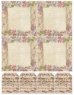 Spring Lilacs & Music ~ free printable with 4 note papers and 4 sheet music tags