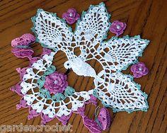 crochet Ireland doily | IRISH-ROSE-PEARLS-FLOWERS-HUMMINGBIRD-BUTTERFLIES-HANDMADE-CROCHET ...