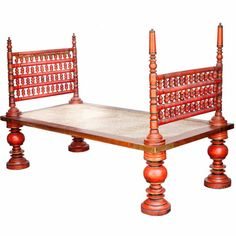 South Indian Painted Daybed with Removable Sides | From a unique collection of antique and modern day beds at https://www.1stdibs.com/furniture/seating/day-beds/