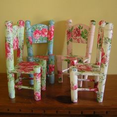Decoupage children chairs! Would be so cute in a little girl's room for tea party's!!