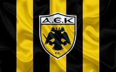 تحميل خل�يات أيك أثينا FC, 4k, اليوناني لكرة القدم, شعار, الدوري الممتاز, بطولة, كرة القدم, أثينا, اليونان, نسيج الحرير, العلم Emblem Logo, Athens Greece, Ferrari Logo, Logos, Animation, Spiderman, Badge, Flag, Wallpaper
