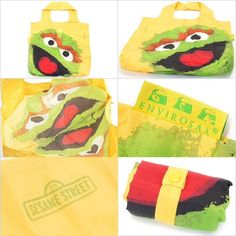 "Envirosax Sesame Street Bag. NWT. Envirosax reusable shopping bags roll up compact and snap shut allowing easy storage and portability. The bags are stylish and lightweight and can carry 44 pounds and the bulk of two typical plastic grocery bags. Made in China under fair-trade conditions. Bags measure 19.5 x 16.5"" but roll up to just 4 x 1.5"". To clean, simply rinse and hang to dry. Designs won't fade. Envirosax Bags Totes"