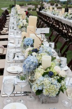 Hydrangeas and Candles on Long Tables #weddingdecor #southernwedding