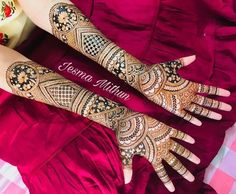 Right from the huge semi-circles and the lined bands to the shaded lotuses, the detailed intricacy of this trending mehndi design for full hands has us bewitched. Latest Henna Designs, Indian Henna Designs, Back Hand Mehndi Designs, Henna Designs Feet, Legs Mehndi Design, Bridal Henna Designs, Mehndi Design Photos, Beautiful Mehndi Design, Best Mehndi Designs