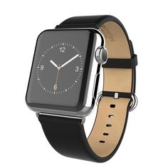 Apple watch band, Decouart genuine leather band with Metal Buckle - Black