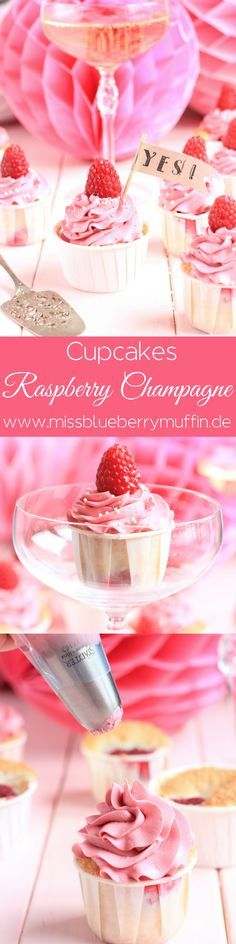 Himbeer-Champagner-Cupcakes // Raspberry Champagne Cupcakes // Wedding…