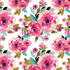 Indy Bloom - Watercolor Florals - Roselynn Floral in Magenta on White Boppy Pillow Cover, Nursing Pillow Cover, Pillow Covers, Car Seat Canopy Pattern, Floral Crib Sheet, Patchwork Blanket, Baby Girl Blankets, Pink Watercolor, Modern Fabric