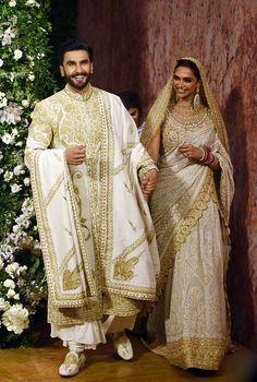 Deepika Padukone and Ranveer Singh Mumbai wedding reception: Singh shakes a leg with friends Indian Groom Dress, Wedding Dresses Men Indian, Wedding Dress Men, Pakistani Bridal Dresses, Wedding Suits, Indian Wear, Bollywood Stars, Bollywood Fashion, Indian Designer Outfits