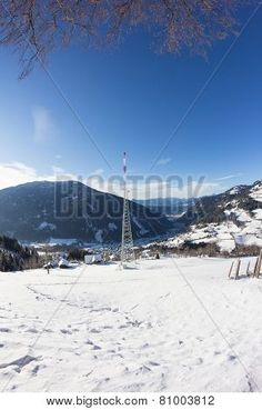 #Winter #Landscape #Broadcasting #Tower #Mitterberg #View To #Radenthein @Bigstock #bigstock #nature #season #outdoor #snow #bluesky #austria #carinthia #stock #photo #portfolio #download #hires #royaltyfree