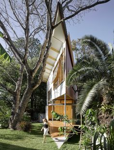 Garden room features a treehouse-inspired design and a climbing wall