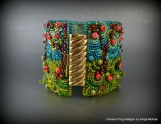 MADE TO ORDER - Summer Apple Orchard Bead Embroidery Cuff Bracelet- bead embroidered apple orchard bracelet. $225.00, via Etsy.