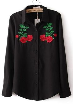Black Lapel Long Sleeve Symmetry Embroidery Blouse  //red skirt, heels & jewelry  // black bag