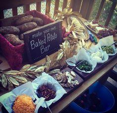 food displays, baked potatoes, baked potatoe bar ideas, event planning, baked potato bar ideas