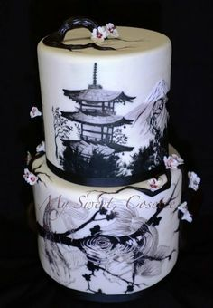 Japanese Themed Cake ~ Hand Painted  www.tablescapesbydesign.com https://www.facebook.com/pages/Tablescapes-By-Design/129811416695