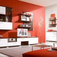 Decorating. Modern Red And White Living Room Design Ideas Feature Wall Mount Clear Glass Front Storage Cabinet And Varnished Wood Wall Mount Storage Shelves Plus Low Console Wooden Tv Stand Unit With Storage Drawers Together With Rectangle Leather Top Coffee Tables As Well As Unique Silver Floor Lamps. Cool Home Interior Rooms Design Ideas