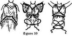 Different ways to tie the cords for a Greek chiton