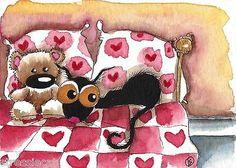 ACEO Original Watercolor Folk Art Painting Black Stressie Cat Teddy Bear Bed | eBay