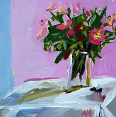 Zinnias on table original floral still life oil painting by moulton  prattcreekart