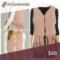 OS Purplish Pink Faux Fur & Fringe Vest New Arrival  Super Cute Pink Faux Fur & Fringe Vest...very easy to wear and can easily be dressed up or down  No Trades Price Firm Ships Same Or Next Day Jackets & Coats Vests