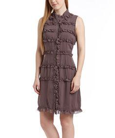 Loving this Gray Ruffle Sleeveless Button-Up Dress on #zulily! #zulilyfinds