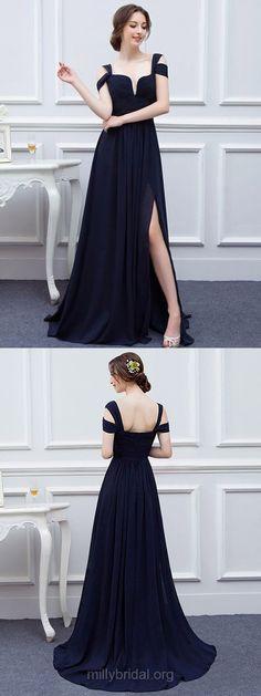 Black Bridesmaid Dresses Long, 2018 Bridesmaid Dresses A-line, V-neck Bridesmaid Dresses Chiffon, Cheap Bridesmaid Dresses with Split Front